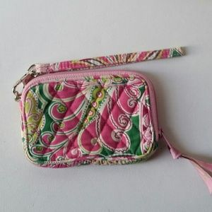 Vera Bradley wristlet in pink and green paisley